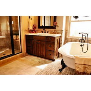 Country Shaker bath, Custom Cupboards